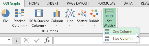 Custom ribbon tab showing Set Chart Width button