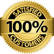 100% Satisfied Customers badge