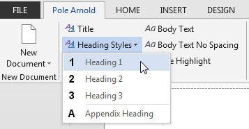 Heading styles