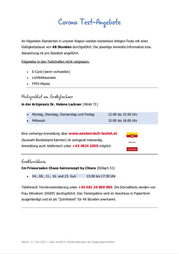 Corona Test-Angebote gratis in Heiligenb