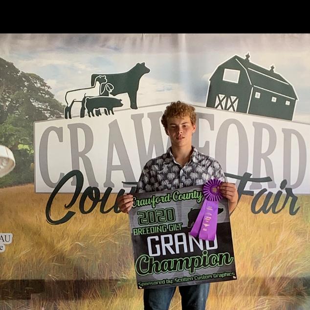 Ethan Merrell  Crawford County Fair Grand Champion Breeding Gilt
