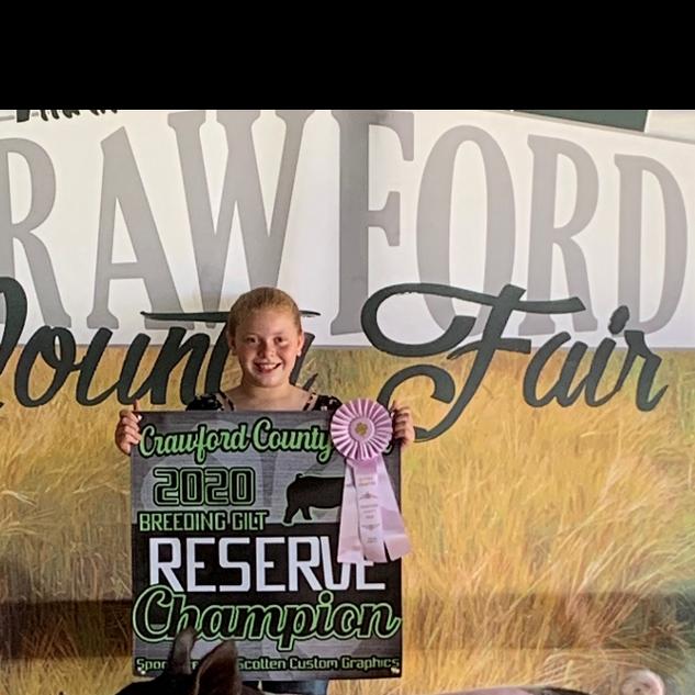 Breelee Merrell  Crawford County Fair Reserve Grand Champion Breeding Gilt
