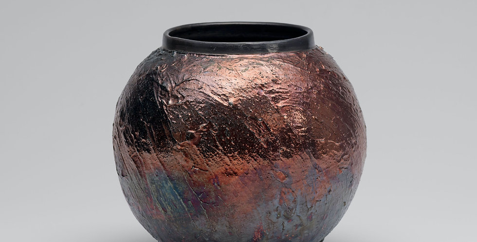 Raku Copper glaze, Moon Jar, Small