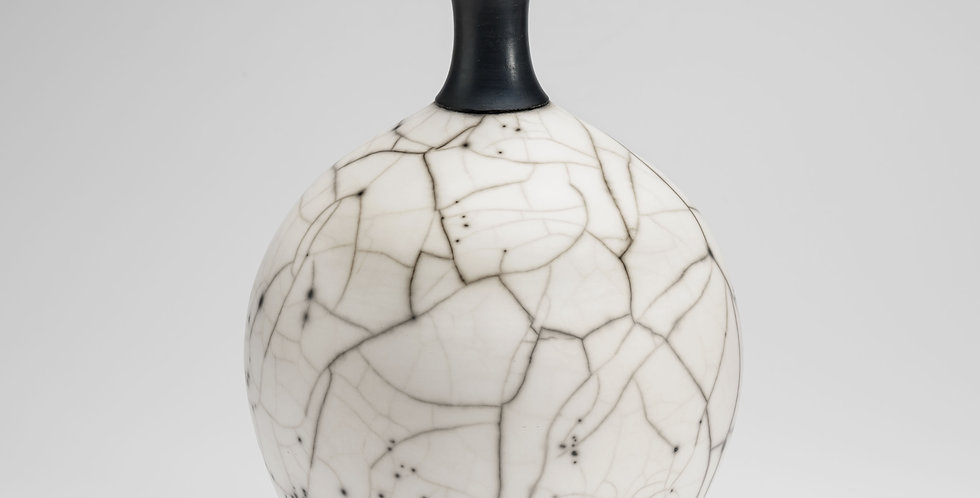 Slim necked Naked Raku bottle vase