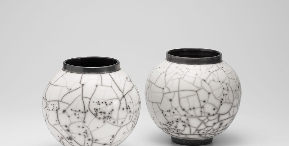 Naked Raku Medium Moon Jars
