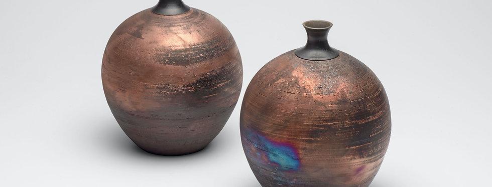 Raku Copper glaze, bottles