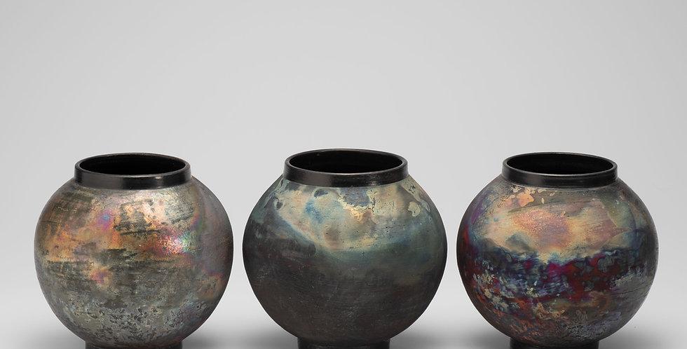 Small Raku Moon Jars.