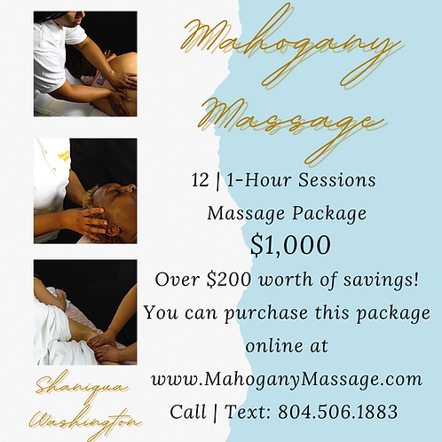 12 | 1-Hour Sessions Massage Package