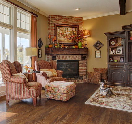 Living Space, Area Rug, Patterns, Traditional Home, Fireplace, Hardwood Floors