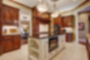 Kitchen, Granite, stained cabinets, kitchen island