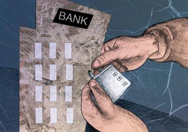 Bank closure scene