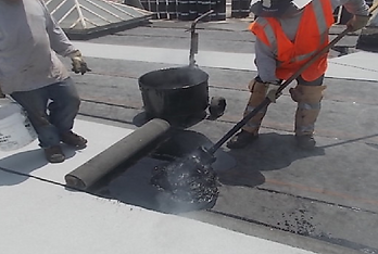 Cap Sheet Installation with Hot Asphalt