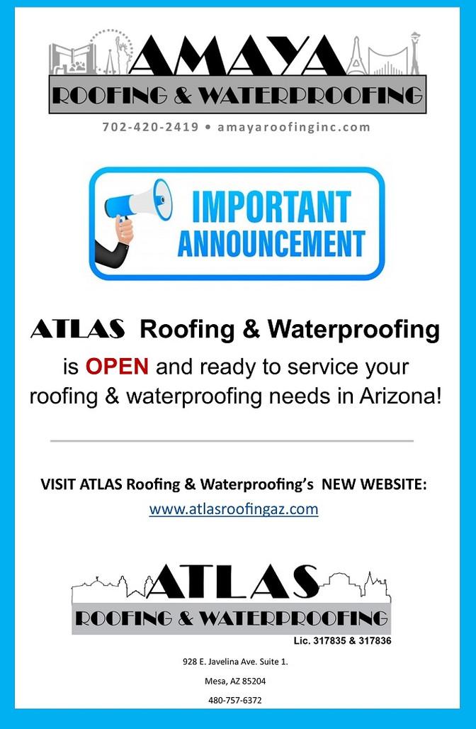 ATLAS ROOFING & WATERPROOFING IS NOW OPEN IN AZ!
