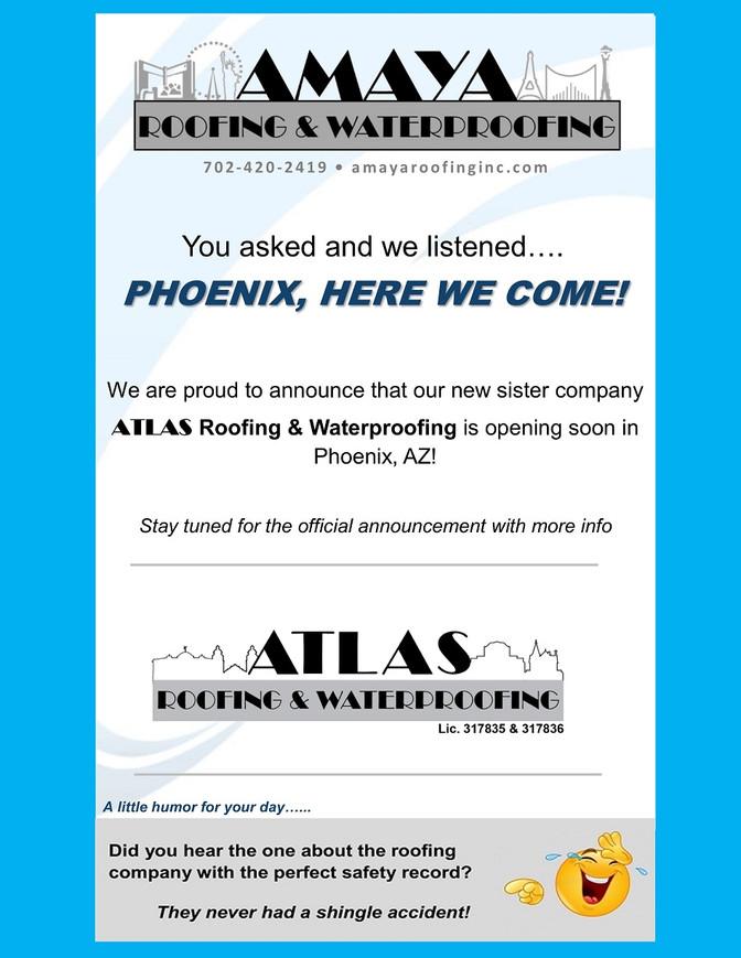 ANNOUNCING ATLAS ROOFING & WATERPROOFING