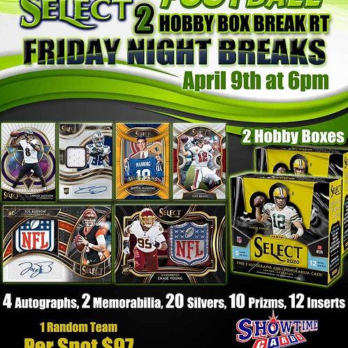 2020 Select Football 2 Hobby Box Break Random Team