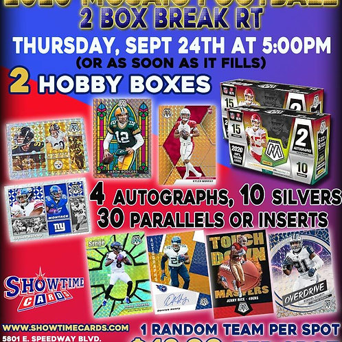 2020 Mosaic Football 2 Hobby Box Break Random Team
