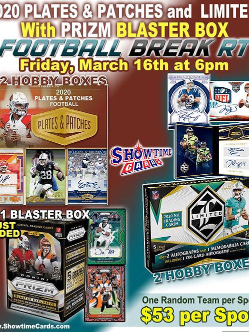 2020 Plates & Patches and Limited, Prizm Football 5 Box Break Random Team