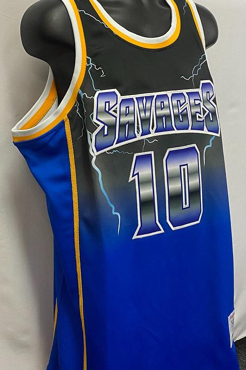 Blue and Black Dennis Rodman Savages Jersey #10 Headgear Classics