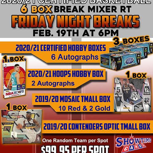 2020/21 Certified Basketball Mixer 6 Box Break Random Team