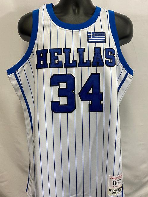 Blue and White Giannis Antetokounmpo Hellas Jersey #34 Headgear Classics