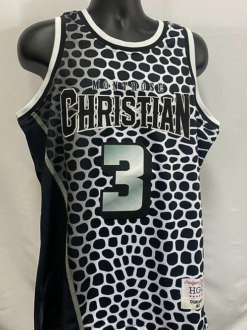 B&W Kevin Durant Montrose Christian High Jersey #3 Headgear Classics