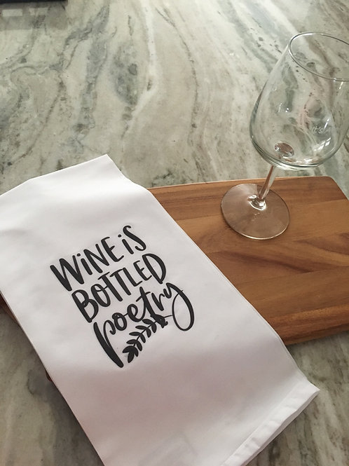 Tea Towel - Wine is Bottled Poetry