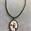 Thumbnail: Collier VINTAGE pendentif ovale - mosaïque de terres cuites & Aigue-Marine