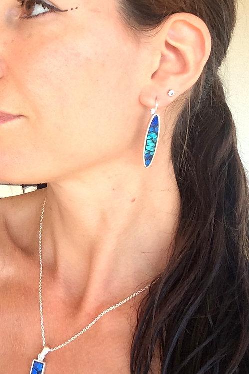 Boucles d'oreilles OVALE LONG argent 925 & mosaïque de verre TURQUOISE & BLEU