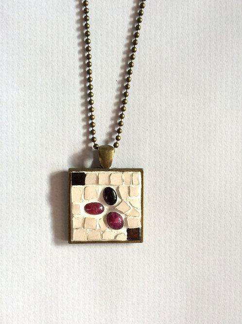 Collier VINTAGE pendentif carré - mosaïque Améthyste & Rubis indiens