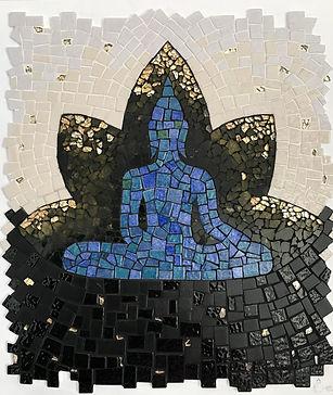 buddha bleu, mosaique, bouddha tableau