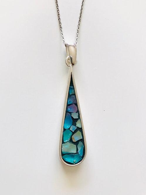 Collier NYMPHÉA argent 925 pendentif GOUTTE D'EAU long & mosaïque de verre IRISÉ
