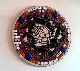 Intuition, création mosaïque, lapis-lazuli, Inde, terres cuites émaillées, miroir rond