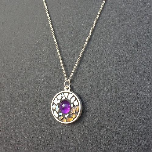 Collier avec pendentif ROND argent 925 - Améthyste & mosaïque de verre DORÉ
