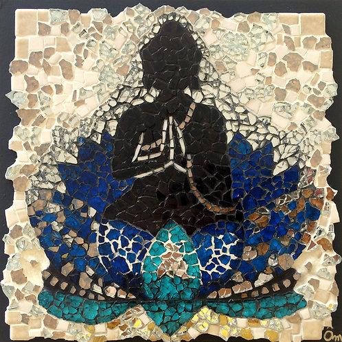 """BUDDHA & LOTUS BLEU"" (2017) - 18 x 18 cm - Tableau MOSAÏQUE"