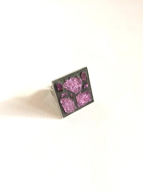 Bague design CARRÉ - mosaïque de verre ROSE irisé