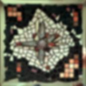 Elixir N°2, tableau mosaïque, quartz rose, cristaux de roche, Inde