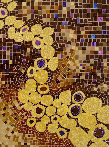 Aurélie Martignac, ô mosaïc design, Eternity,tableau création mosaïque, jaune, émaux de Briare, grès antique