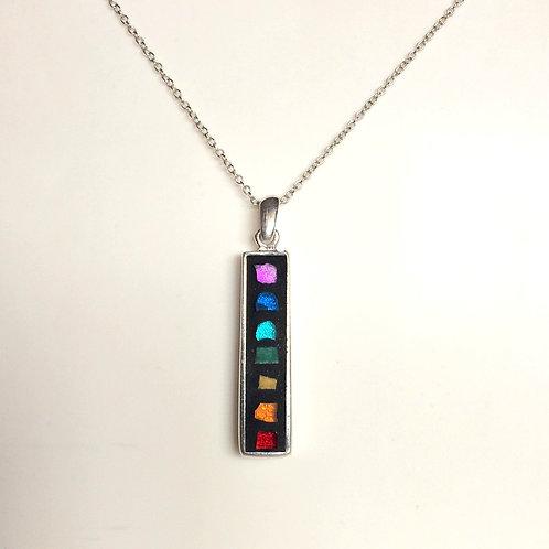 Collier 7 chakras - pendentif argent 925 & création MOSAÏQUE