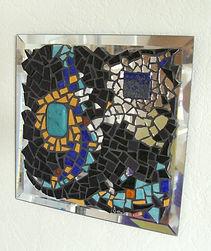 connexion, tableau création mosaïque, miroir, lapis-lazuli, Inde, turquoise