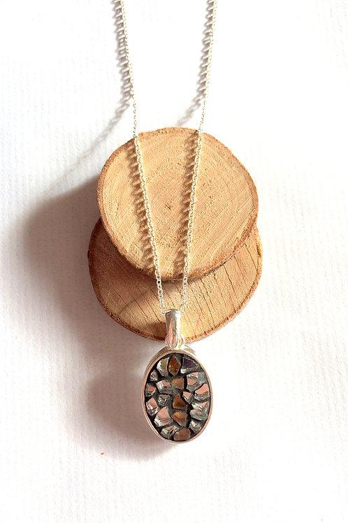 Collier argent 925 avec pendentif OVALE mosaïque de verre ARGENT & OR