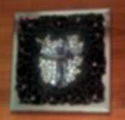 Elixir N°1, tableau création mosaïque, cristaux de roche, noir, miroir