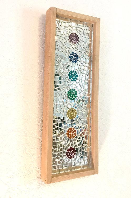 Tableau HARMONY 7 chakras mosaïque de verre et de miroir