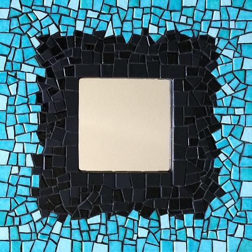 Miroir LAGON - Turquoise & Noir - 25,7 x 25,7 x 1,5 cm