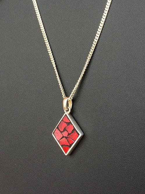 Collier argent 925 avec pendentif LOSANGE mosaïque de verre ROUGE