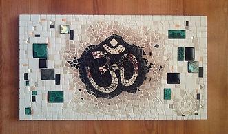 mosaïque Toulouse, Tableau mosaïque, symbole om,aum, yoga, méditation, pierres semi-précieuses, Inde