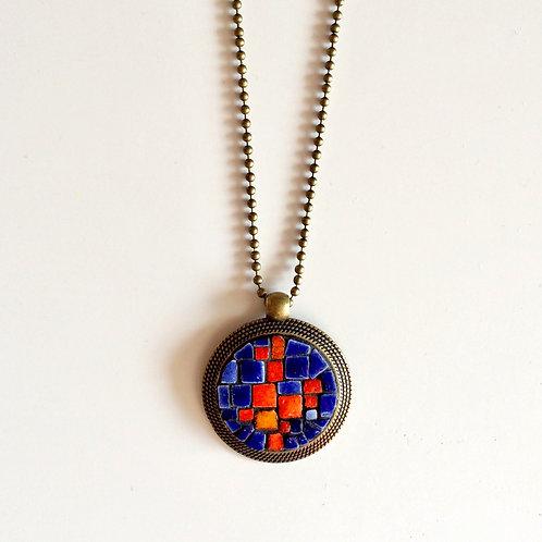 Collier VINTAGE pendentif rond - mosaïque & Améthyste