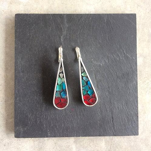 Boucles d'oreilles MAGIC DROP - argent 925 - Dégradé de Rouge & Turquoise