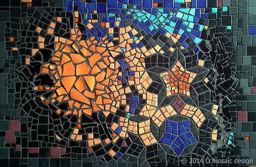ô mosaïc design, Cosmos, tableau création mosaïque, mosaïc frame, emaux de Briare, Toulouse, France