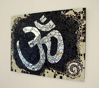 Tableau mosaïque, symbole om, aum, yoga, méditation, miroir