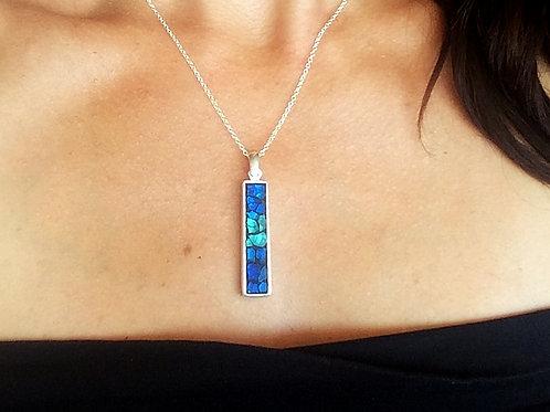 Collier argent 925 avec pendentif RECTANGLE mosaïque de verre TURQUOISE & BLEU